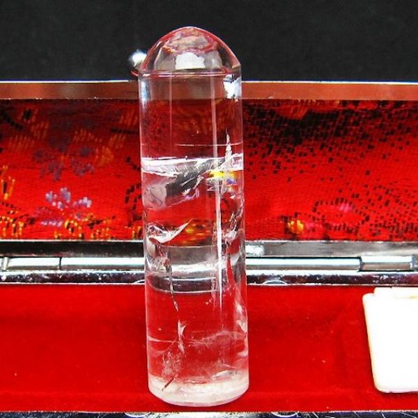 虹入り ヒマラヤ水晶 印材 ※別途料金で篆刻可能 15mm [T607-83]