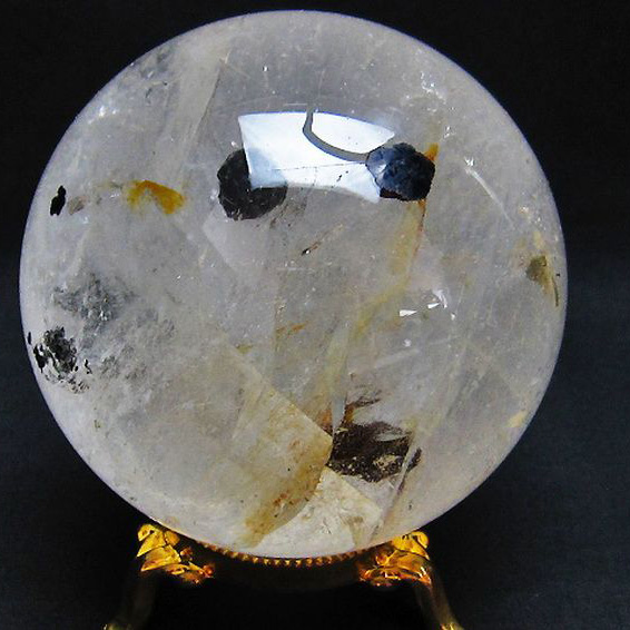 1Kg ガーデンルチル水晶 丸玉 90mm [T637-1338]