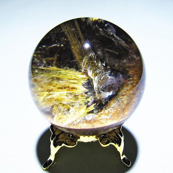 ゴールドタイチンルチル入り 水晶 丸玉 36mm [T637-4132]