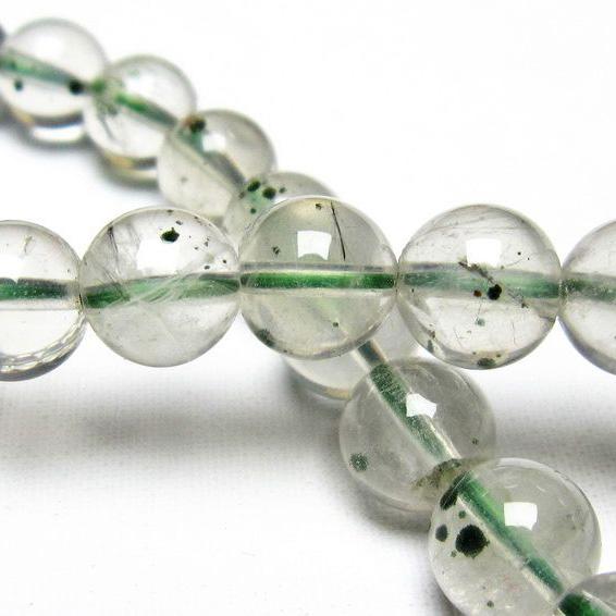 メタモルフォーゼス緑針入り 水晶 丸玉 ブレスレッ7mm