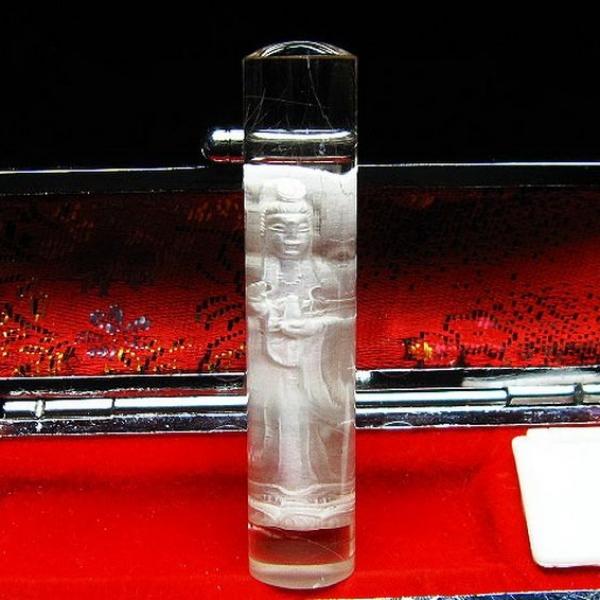 ルチル水晶中彫観音 印材 ※別途料金で篆刻可能 12mm [T71-31]