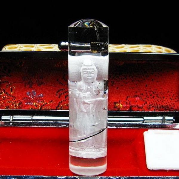 ルチル水晶中彫観音 印材 ※別途料金で篆刻可能 15mm [T71-42]