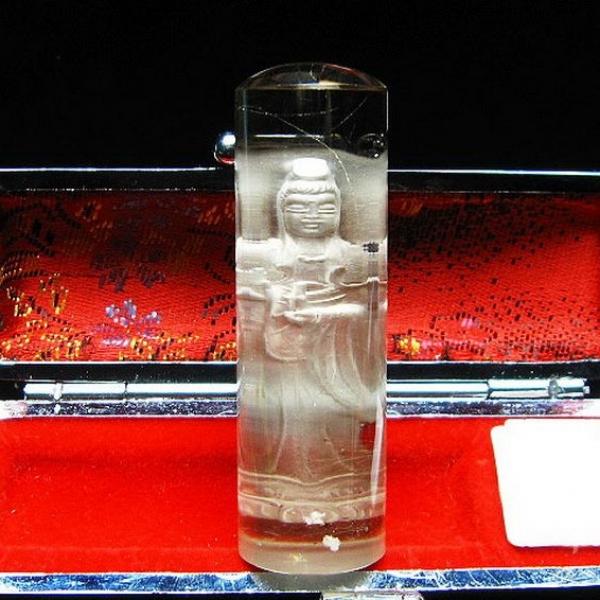 ルチル水晶 中彫 観音 観音 印材 18mm ※別途料金で篆刻可能[T71-47]