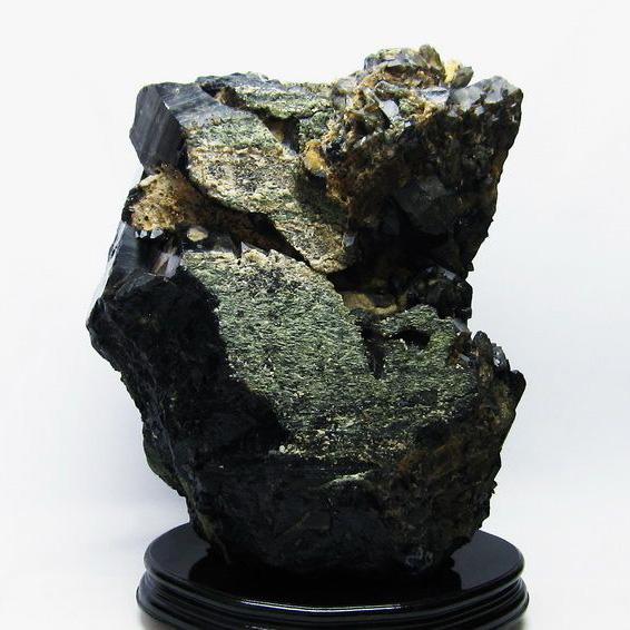 18.9Kg モリオン 純天然 黒水晶 ミックスカラートルマリン 共生 原石 同梱不可[T735-3442]