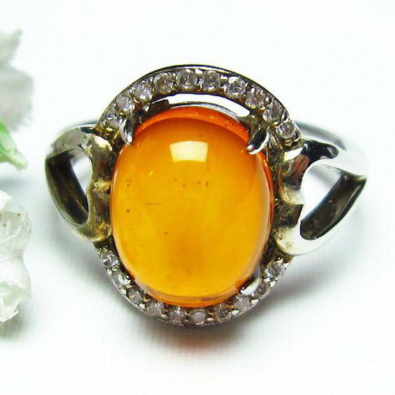 レッドアンバー 赤琥珀 指輪 (16号)[T746-2394]