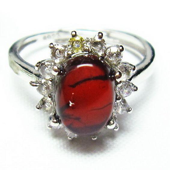 レッドアンバー 赤琥珀 指輪 (12号)[T746-2924]