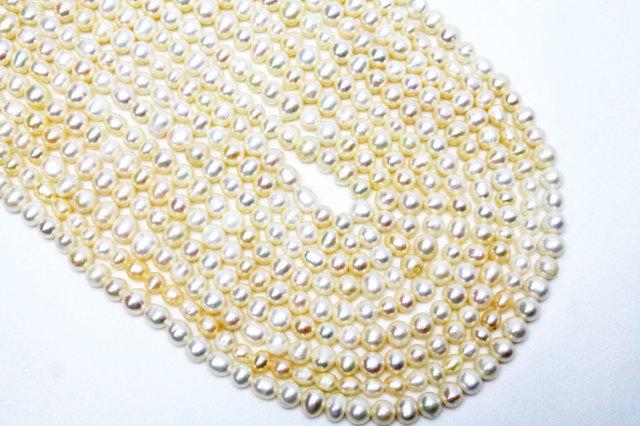 真珠 パール ミックスビーズ アソート 不定形 ラウンド ボタン 俵型ビーズ 一連 約5~7.5mm  《rv》  [T748-1747]