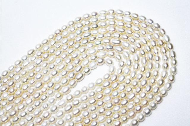 真珠 パール ミックスビーズ アソート 不定形 俵型ビーズ 一連 約5.5~6.5mm  《rv》 [T748-1748]