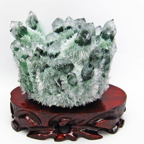 1.4Kg 緑水晶 グリーンクォーツ クラスター[T802-2327]