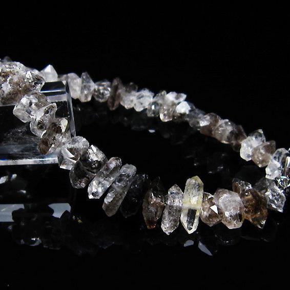 スティブナイト(輝安鉱)入り  ハーキマーダイヤモンド水晶 ブレスレット [T99-5429]