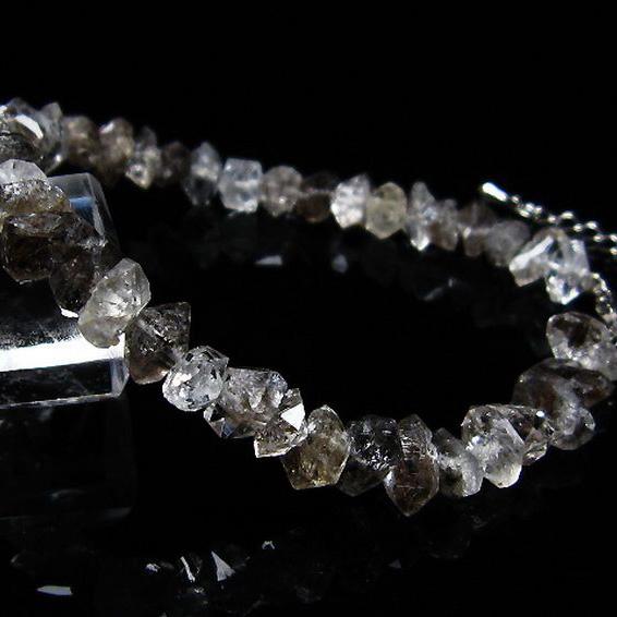 スティブナイト(輝安鉱)入り  ハーキマーダイヤモンド水晶 ブレスレット [T99-5435]