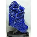 ★セット割対象品!★3.3Kg ラピスラズリ 手彫り 龍 置物 [M170-88]