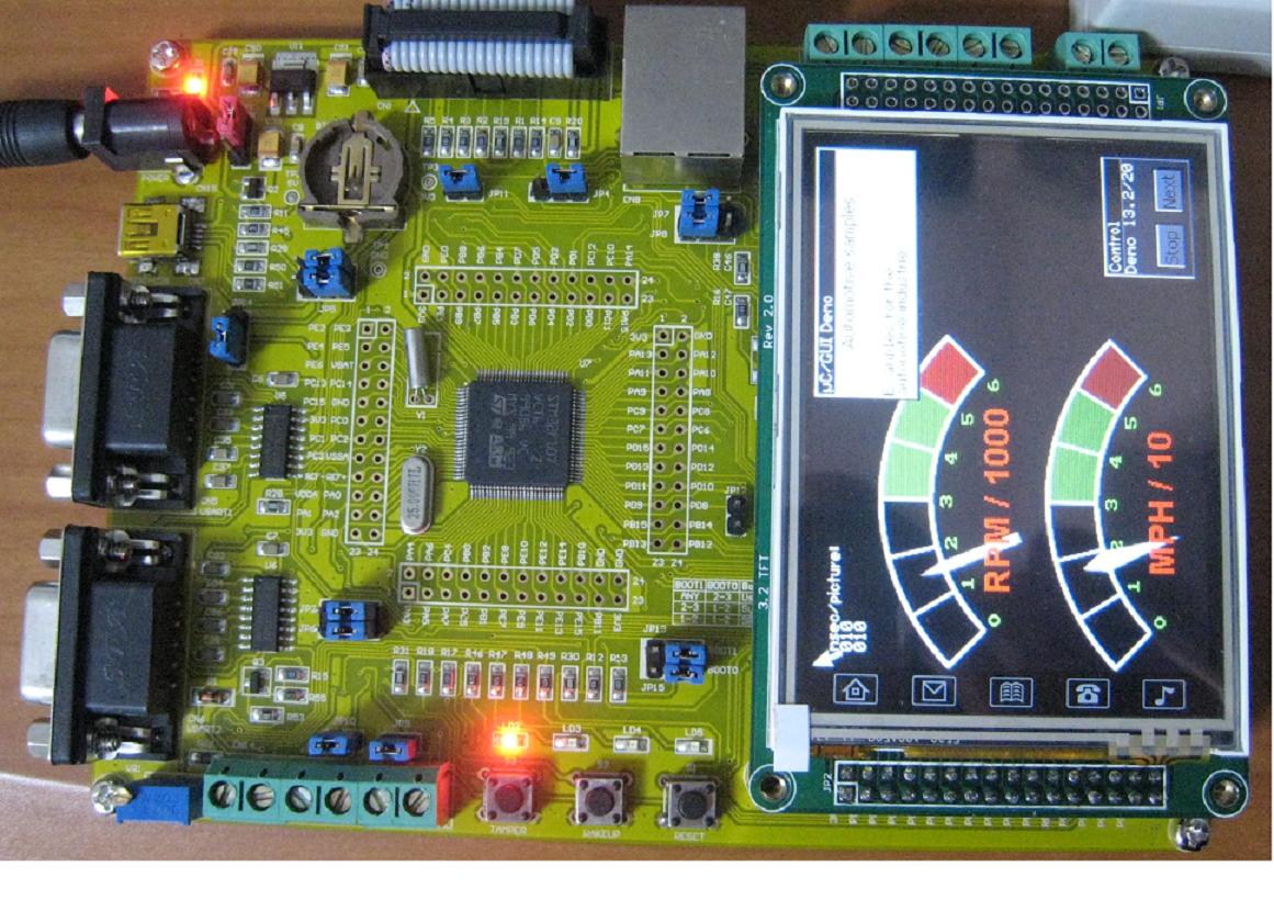 """ARM Cortex-M3/STM32F107開発キット(3 2""""TFT液晶タッチパネル付き)"""