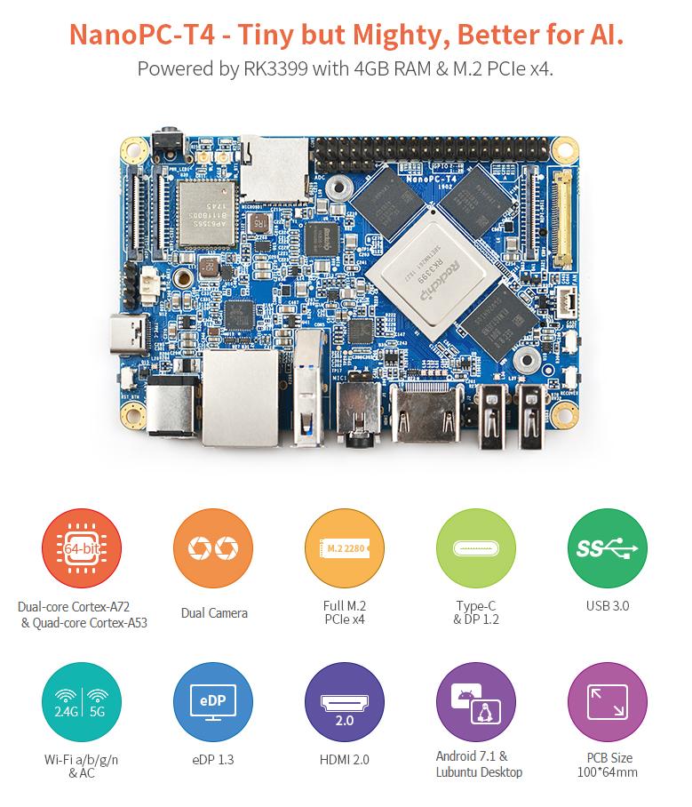 ARM/SoC AI(人工知能)評価ボードNanoPc-T4(RK3399、小型で豊富なインタフェース搭載、ヒートシンク付き)