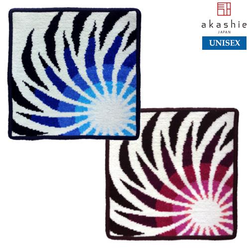 akashie(アカシエ):【フラワー】(ブルー、レッド) ハンカチ ※DM便配送