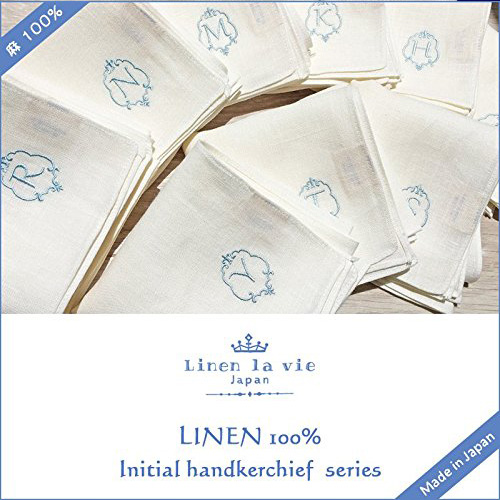 Linen la vie(リネン ラ・ヴィ):【イニシャル刺繍ハンカチ】 ハンカチ ※DM便配送