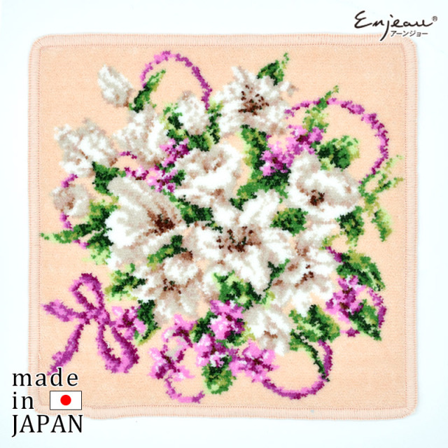 【セールハンカチ2枚以上ご購入で送料無料】Enjeau(アーンジョー):セール【ハーモニー】(ピンク) ※DM便配送