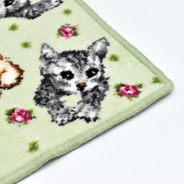 花ネコ 猫 レギュラー ハンカチ グリーン