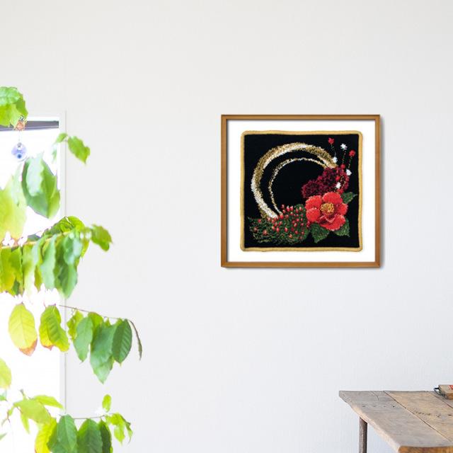 椿 正月 しめ飾り ハンカチ