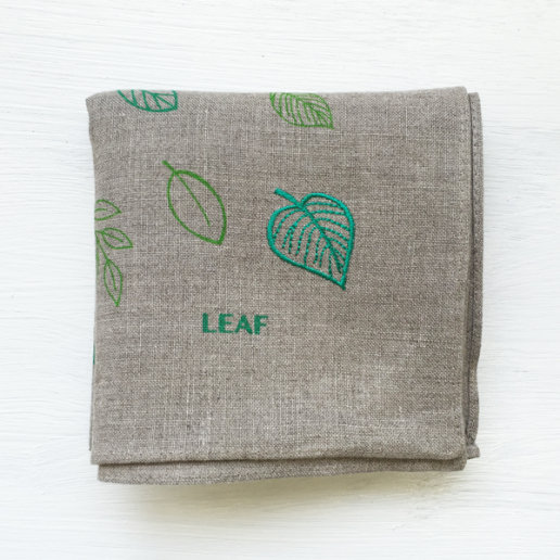 [Linen la vie] リーフ 麻ハンカチ(グレー)