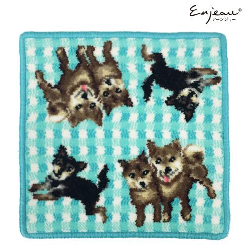 Enjeau(アーンジョー):【チェック 柴犬】(ブルー)  ハンカチ ※DM便配送