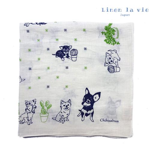 Linen la vie(リネン ラ・ヴィ):【チワワ】 ハンカチ ※DM便配送