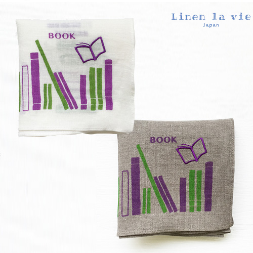 Linen la vie(リネン ラ・ヴィ):【刺繍 Book】(ホワイト、グレー) ハンカチ ※DM便配送