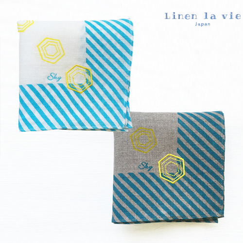 Linen la vie(リネン ラ・ヴィ):【刺繍 Sky】(ホワイト、グレー) ハンカチ ※DM便配送