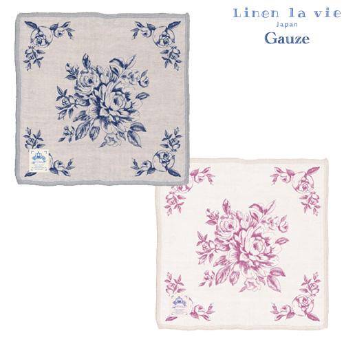 Linen la vie(リネン ラ・ヴィ):【ローザ】四重綿麻ハンカチ ※DM便配送