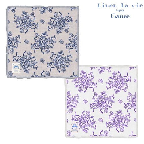 Linen la vie(リネン ラ・ヴィ):【ロゼット】四重綿麻ハンカチ ※DM便配送