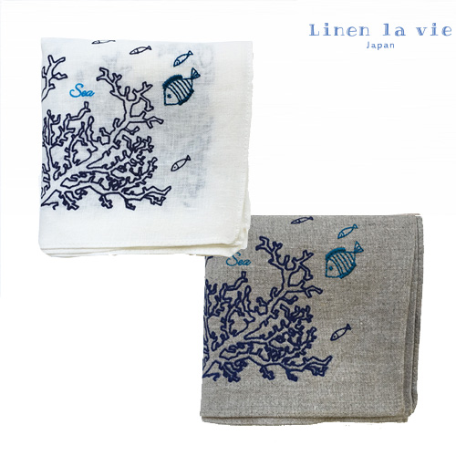 Linen la vie(リネン ラ・ヴィ):【刺繍 Sea】(ホワイト、グレー) ハンカチ ※DM便配送
