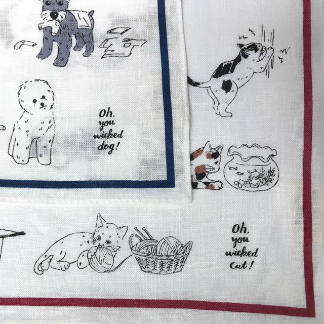 ウィキッド 犬猫 リネンハンカチ