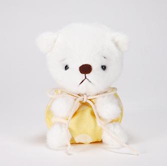 pom pom Bear しろくま イエロー水玉