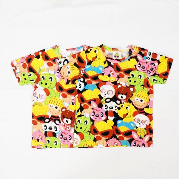 【2019春夏  HYSTERIC MINI】ヒステリックミニ FAM総柄ゆったり半袖Tシャツ(80cm)