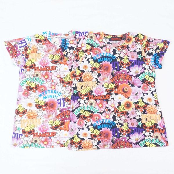 【2019春夏  HYSTERIC MINI】ヒステリックミニ POP FLOWER総柄 Viscotex BIG 半袖Tシャツ (100-120cm)