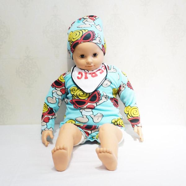 【2015秋冬 HYSTERIC MINI】ヒステリックミニ  No.1 BABY!総柄ギフト3点セット(ロンパース・キャップ・ミニタオル)