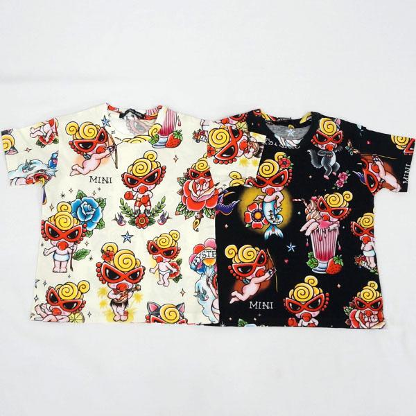 【2018春夏  HYSTERIC MINI】ヒステリックミニ タトゥー総柄ビスコテックス半袖Tシャツ(100・110cm)