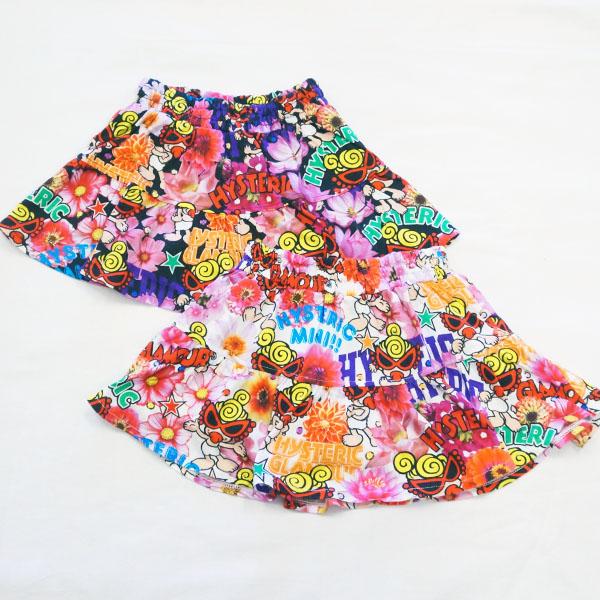 【2019春夏  HYSTERIC MINI】ヒステリックミニ POP FLOWER総柄 Viscotex インナーパンツ付きスカート(100-120cm)