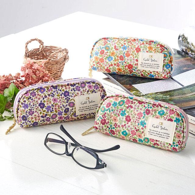 メガネケース / メガネケース 眼鏡ケース サングラスケース レディース かわいい 花柄 おしゃれ ソフトケース  ギフト プレゼント ビリーブフラワー