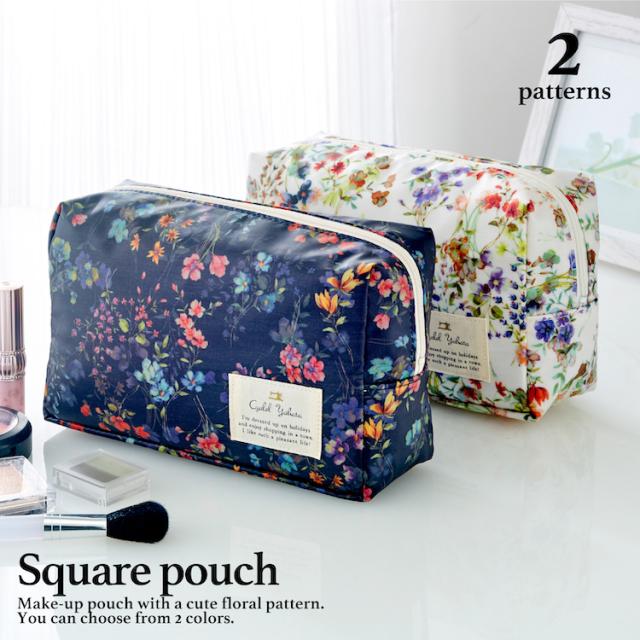フローフロー スクエアポーチ (L) / トラベルポーチ 旅行ポーチ おしゃれ 化粧品 日本製 ギフト プレゼント