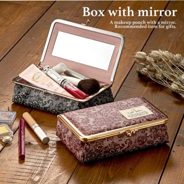 レイシーアラベスク がま口ミラー付きBOX / 鏡付き ミラー メイク ボックス 大容量 小物入れ  ギフト プレゼント お祝い トラベルポーチ