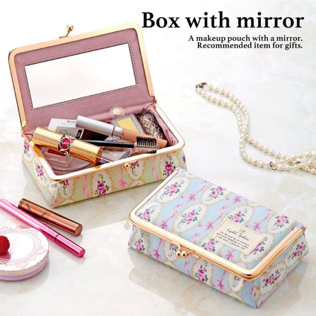 リボンローズ がま口ミラー付きBOX / 鏡付き ミラー メイク ボックス 大容量 小物入れ  ギフト プレゼント お祝い トラベルポーチ