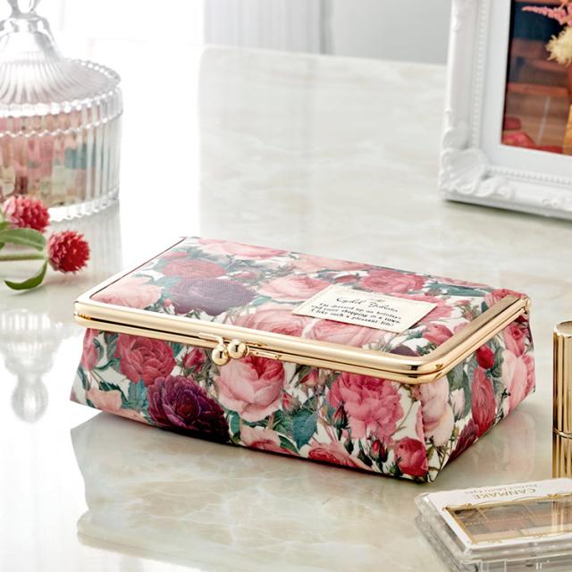 【日本製】がま口ミラー付きBOX  ルドゥーテ / 鏡付き ミラー メイク ボックス 大容量 小物入れ バラ柄 薔薇 ローズ  ギフト プレゼント