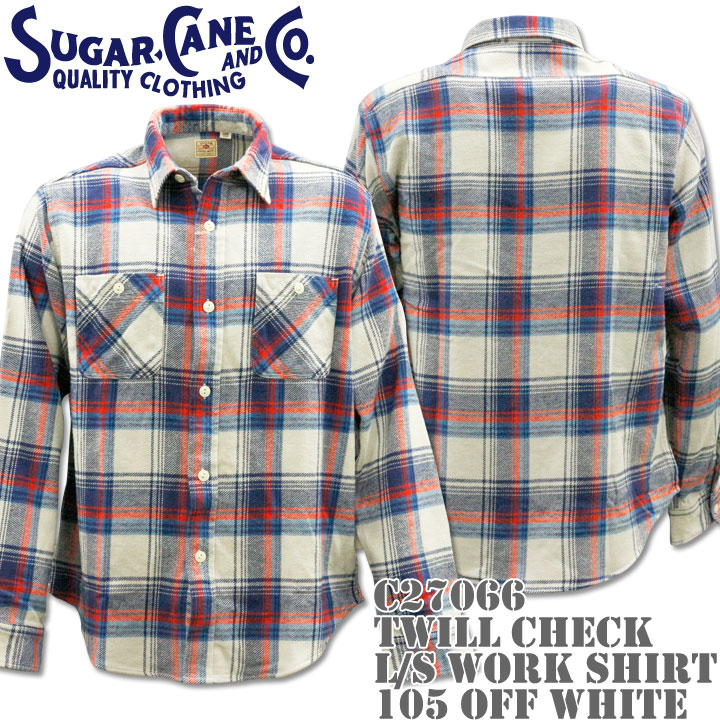 Sugar Cane ( シュガーケーン ) TWILL CHECK L/S WORK SHIRT SC27066-105 Off White