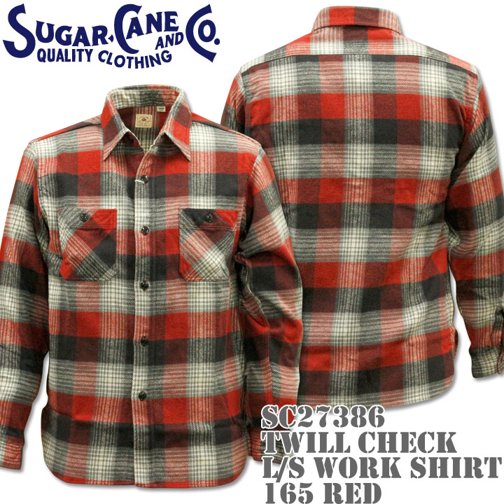 Sugar Cane(シュガーケーン)TWILL CHECK L/S WORK SHIRT SC27386-165 Red