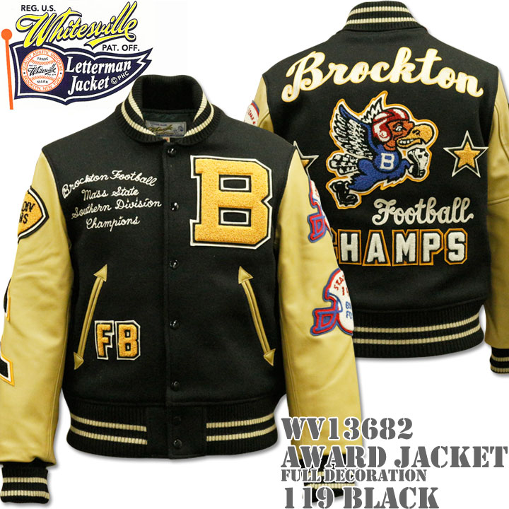 【2016秋冬新作!】WHITES VILLE(ホワイツビル)AWARD JACKET FULL DECORATION(スタジアムジャンパー)『Brockton Football Champs』WV13682-119 Black