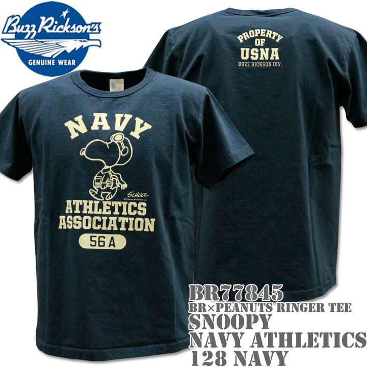 BUZZ RICKSON'S(バズリクソンズ)スヌーピーコラボTシャツ BR×PEANUTS RINGER TEE『SNOOPY NAVY ATHLETICS ASSOCIATION』BR77845-128 Navy