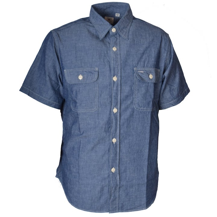 Sugar Cane(シュガーケーン)BLUE CHAMBRAY S/S WORK SHIRT(シャンブレーワークシャツ)SC37941-421 A.Blue