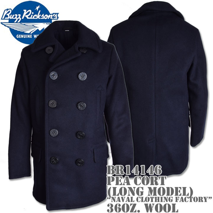BUZZ RICKSON'S(バズリクソンズ)Type PEA COAT (LONG MODEL) 36oz Wool/Wool Lining『NAVAL CLOTHING FACTORY』BR14146