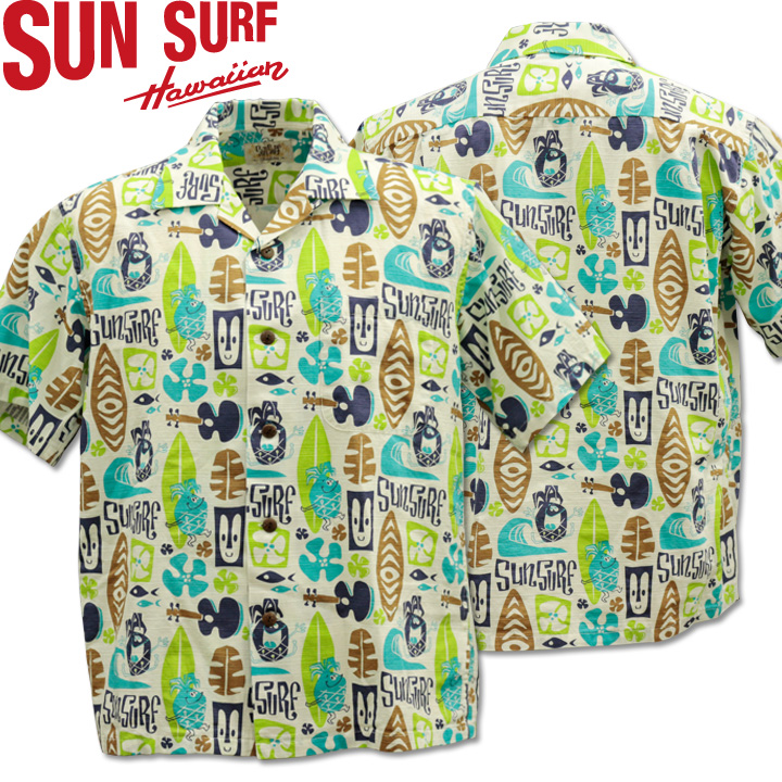 SUN SURF ( サンサーフ ) COTTON SHANTUNG OPEN SHIRT 『 PINEAPPLE BOY by Masked Marvel 』 SS38148-105 Off White